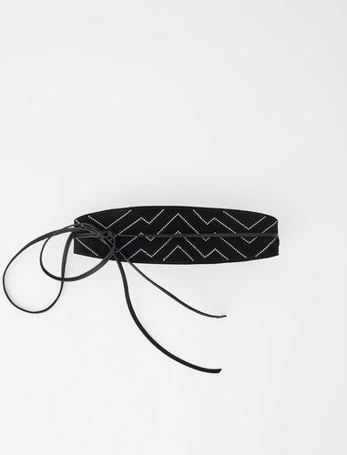 CEINTURE EN SUÈDE À STUDS AVEC LIENS : Belts color Black