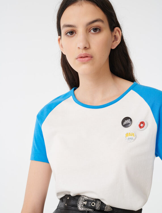 T-shirt with contrasting sleeves : T-Shirts color Ecru