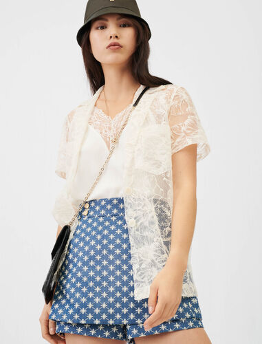 Lace tie shirt : Shirts color Ecru