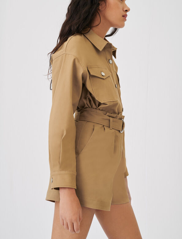 Belted, stretch cotton shorts : null color Beige