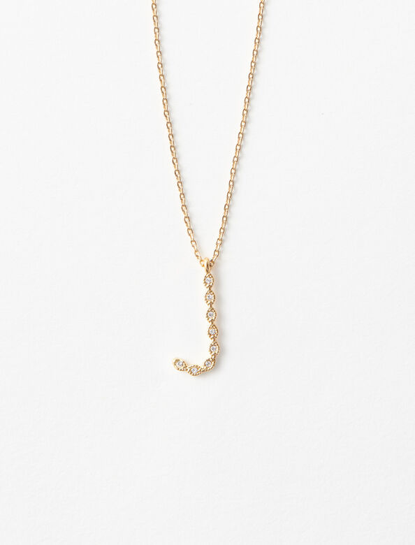 Rhinestone J necklace : Jewelry color Gold