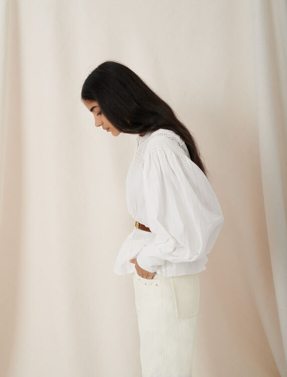 Blouse-style top with guipure braiding - Tops - MAJE