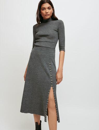 针织穿孔开叉裙 : Skirts & Shorts 顏色 灰色/GREY