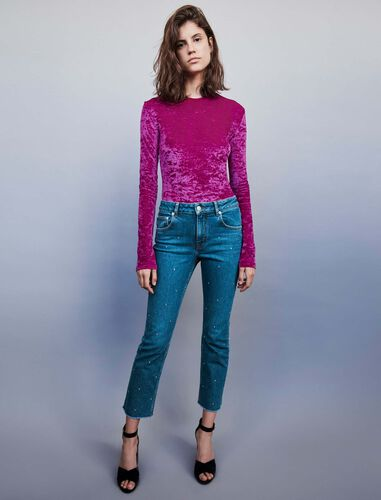 Strass-covered jean : Jeans color Blue