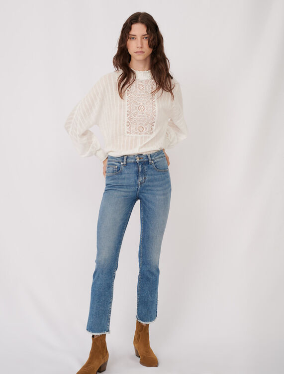 Straight cut jeans with fringing - Jeans - MAJE