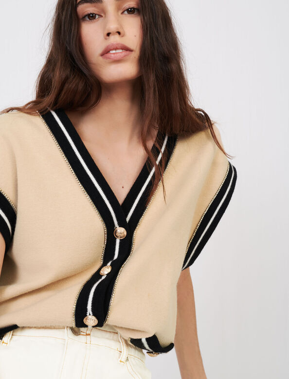 Sleeveless cardigan with contrast bands : Cardigans color Beige