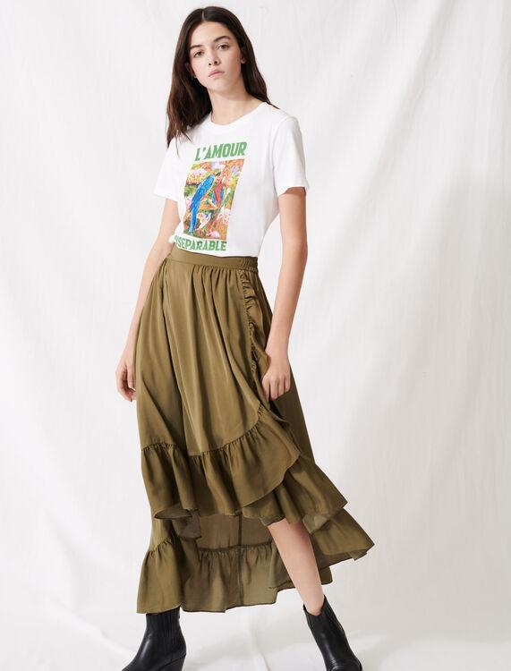 White screen-printed T-shirt : T-Shirts color Ecru