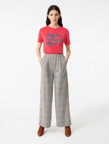 Checked elasticated trousers : Trousers color Grey
