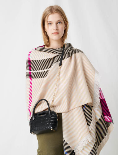 Pink check poncho : Other accessories color Multi-Coloured