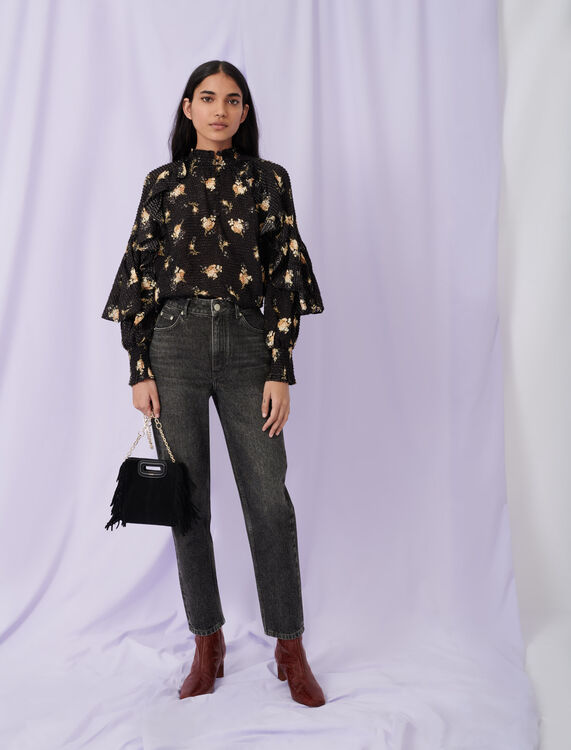 Low cut jacquard top with ruffles : Tops color Grunge flowers black camel
