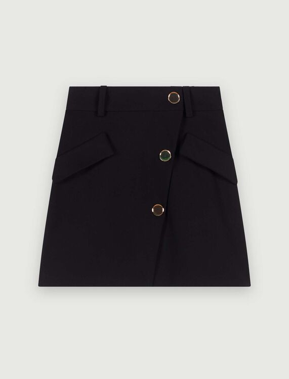 Crepe skirt with contrasting buttons : Skirts color Black