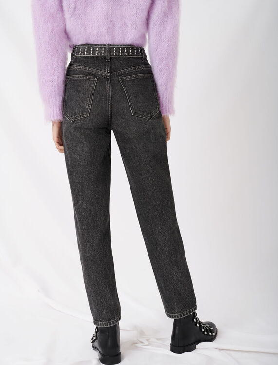 Mom jeans with rhinestone belt - Jeans - MAJE
