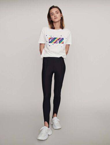 Stretch stirrup pants : Trousers color Black