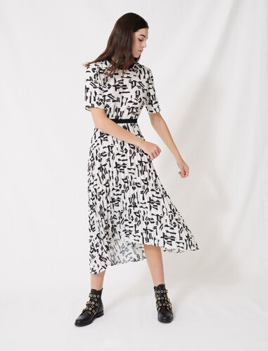 Motif dress with inlaid waistband : Dresses color White / Black