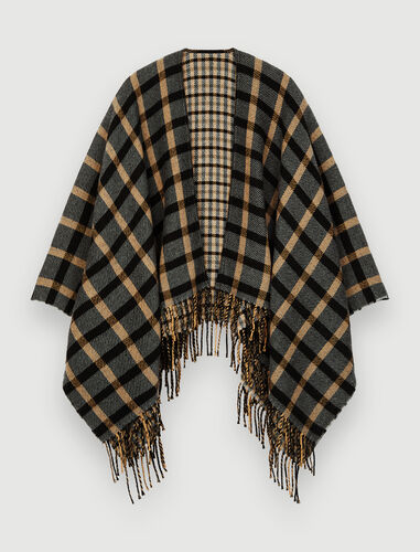 Wool blend poncho : Other accessories color Black/Camel