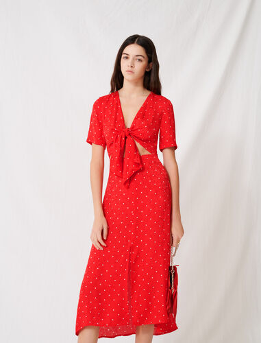 Long tie dress with polka dot print : Dresses color Red