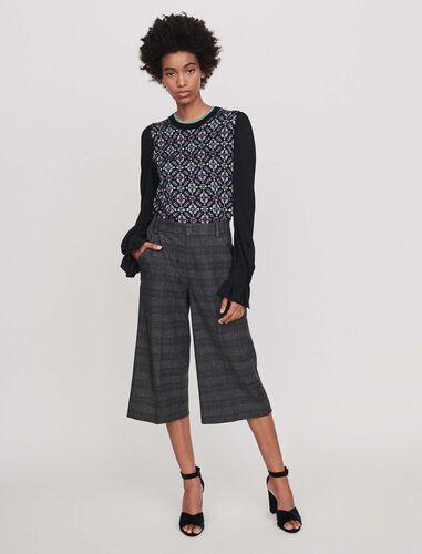 Plaid bermuda-style shorts : Shorts color Grey
