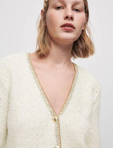 Cropped lurex knit cardigan : Cardigans color Ecru