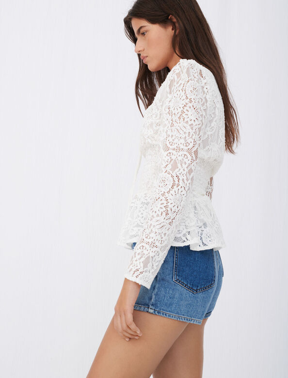 Smocked top in lace : Tops color Ecru