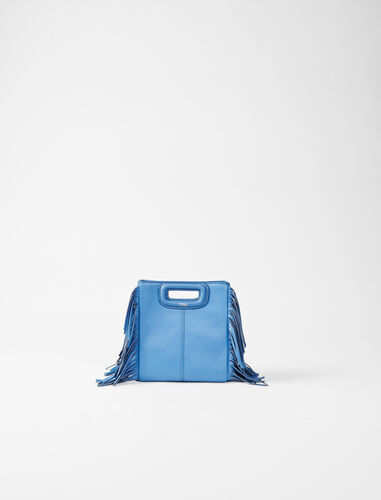Leather mini M bag with chain : M Mini color Blue