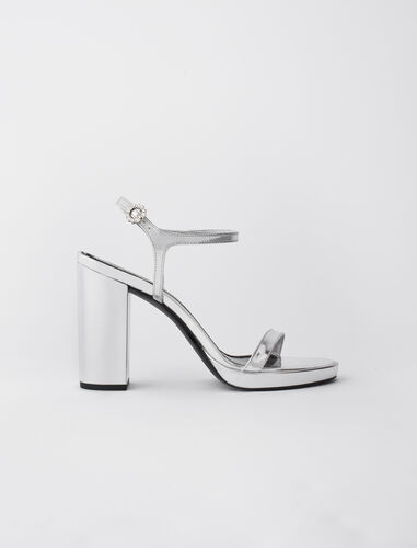 High-heeled sandals in metallic leather : Boots & Flat shoes color Silver