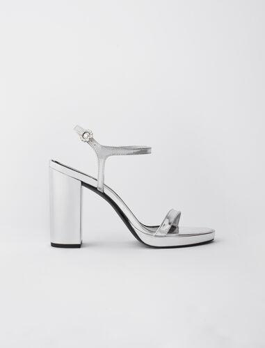 金属色皮革高跟凉鞋 : 靴子及乐福鞋 顏色 银色/SILVER