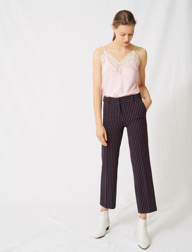 Striped suit trousers : Trousers color Navy