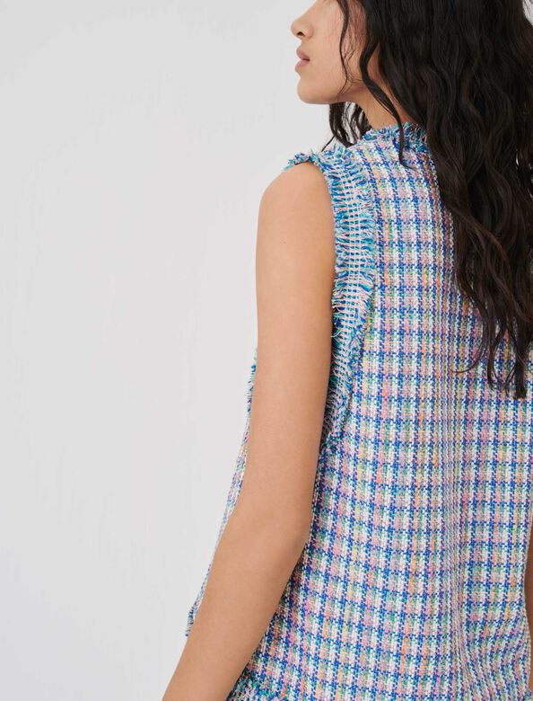 Tweed top with contrasting braid trims : Tops color Multi-Coloured