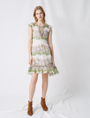 Printed silk dress : Dresses color Ecru / Green