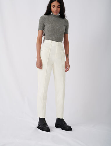 Corduroy trousers with studs : Trousers color Ecru