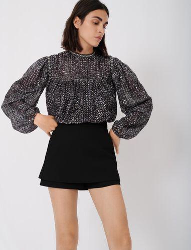 Trompe-l'œil shorts in crêpe fabric. : Skirts & Shorts color Black