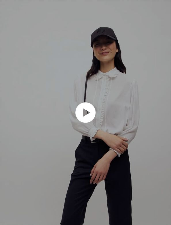 Voile shirt with Peter Pan collar : Shirts color White