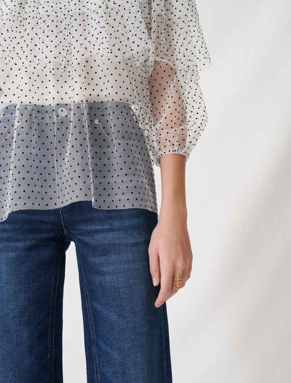 Loose top with ruffles : Tops color White / Black