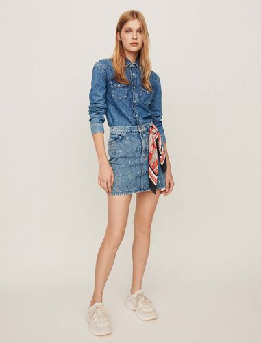 Faded jean shirt : Dresses color Blue