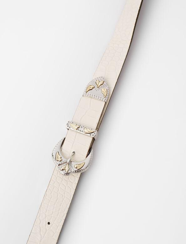 Western double buckle belt : Belts color Ecru