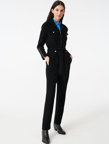 Zip-up crepe jumpsuit : Jumpshort & Jumpsuits color Black