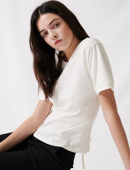Ecru T-shirt with lacing at the back : T-Shirts color Ecru