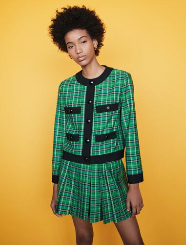 Plaid jacket with 4 pockets : Coats & Jackets color Green