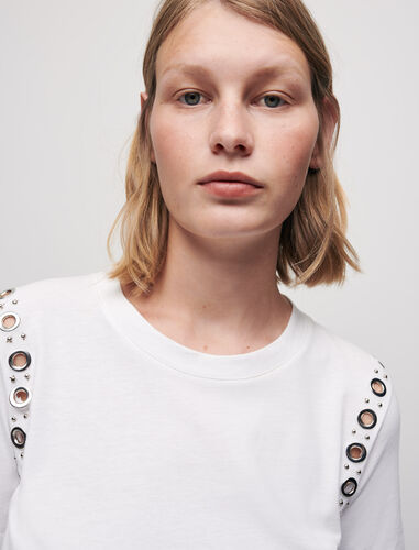 White T-shirt with rock eyelets : T-Shirts color White