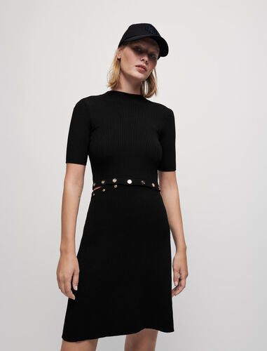 Ribbed knit dress with Maje buttons : Dresses color Black