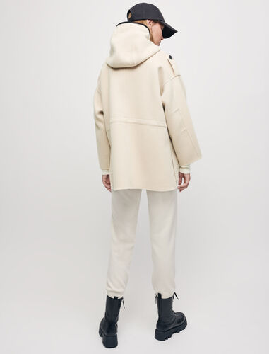 Contrasting double-faced hooded coat : Coats & Jackets color Ecru