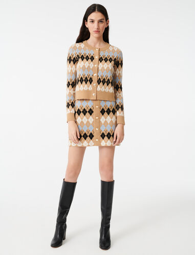 Short jacquard cardigan : Cardigans color Camel