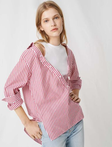 Top with scarf-style short sleeves : Shirts color Red/White