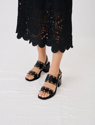 High-heeled leather sandals with eyelets : Boots & Flat shoes color Black