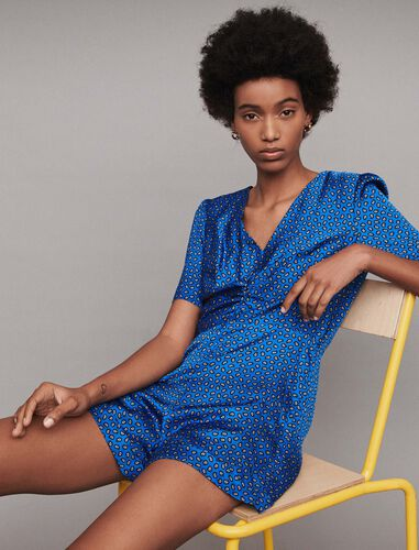 Printed satin playsuit : Trousers color Blue