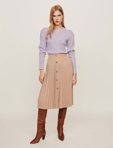 Pleated skirt with buttons : Skirts color Beige