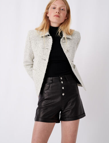 Tweed-style pussy-bow jacket : Coats & Jackets color Gris/Blanc