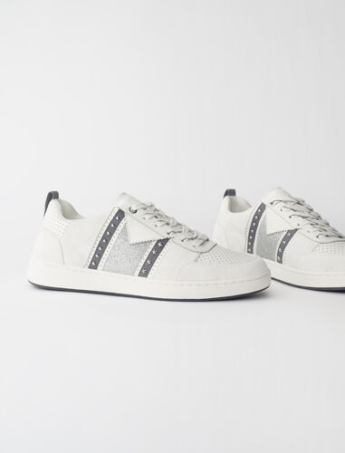 Leather trainers glitter suede panel : Sneakers color Silver