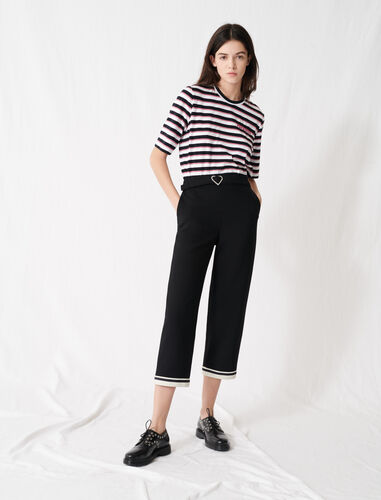 Heart buckle trousers with sporty hems : Trousers color Black
