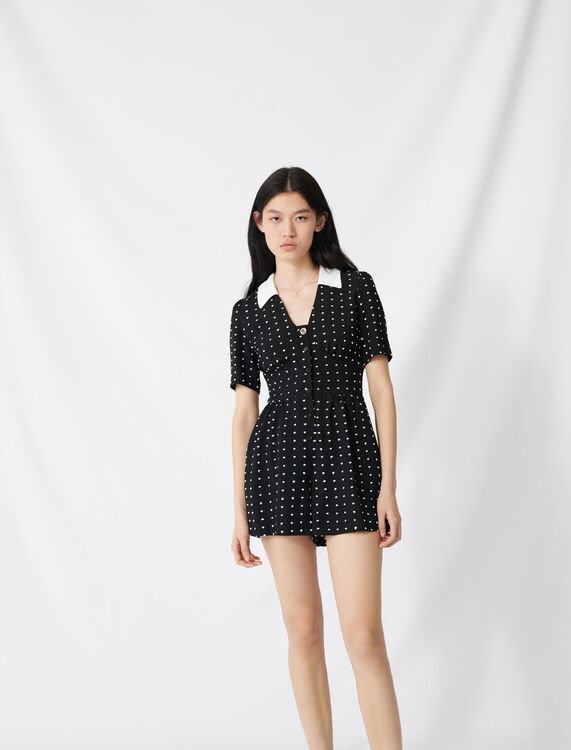 Floaty playsuit with retro polka dots : Jumpshort & Jumpsuits color Black / White